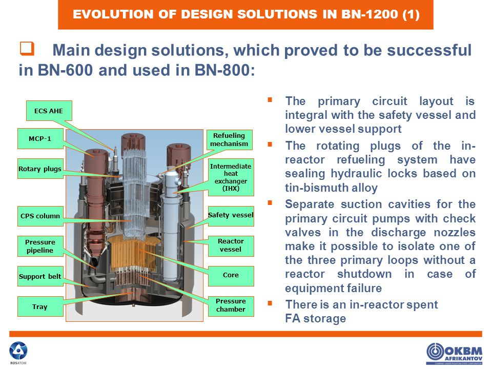 EVOLUTION OF DESIGN SOLUTIONS IN BN-1200 (1)  The primary circuit layout is integral with the safety vessel and lower vessel support  The rotating plugs of the in- reactor refueling system have sealing hydraulic locks based on tin-bismuth alloy  Separate suction cavities for the primary circuit pumps with check valves in the discharge nozzles make it possible to isolate one of the three primary loops without a reactor shutdown in case of equipment failure  There is an in-reactor spent FA storage  Main design solutions, which proved to be successful in BN-600 and used in BN-800: CPS column Intermediate heat exchanger (IHX) Pressure chamber Core Support belt Tray Pressure pipeline MCP-1 Refueling mechanism Rotary plugs Safety vessel Reactor vessel ECS AHE