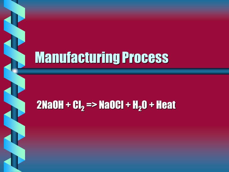 Manufacturing Process 2NaOH + Cl 2 => NaOCl + H 2 0 + Heat
