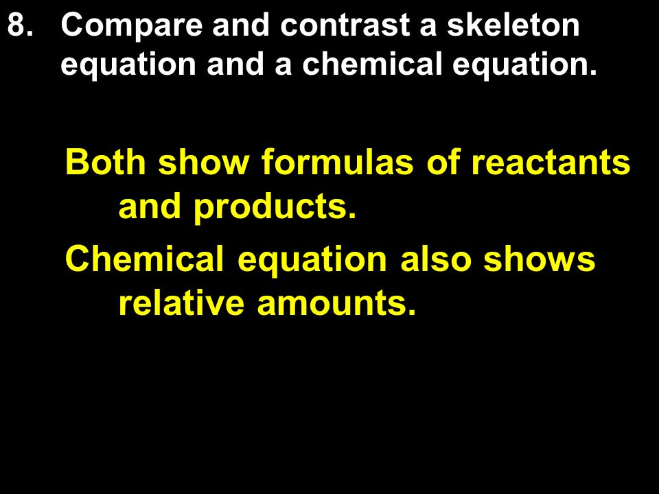 Both show formulas of reactants and products. Chemical equation also shows relative amounts.