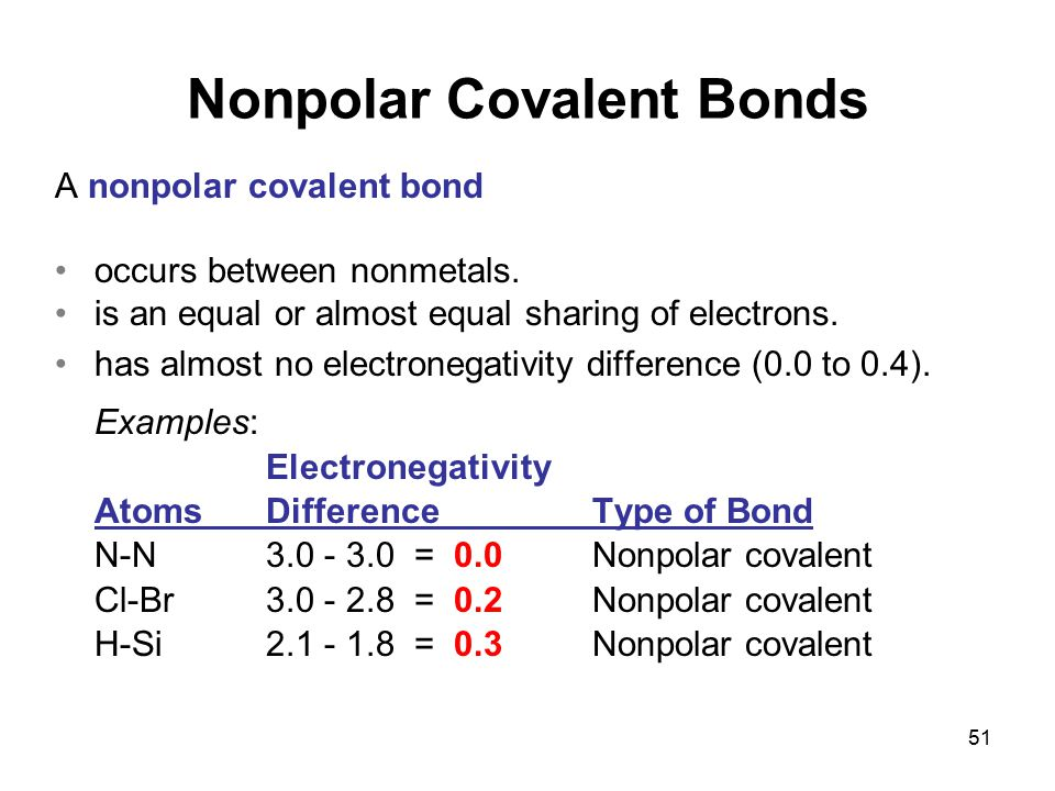 51 A nonpolar covalent bond occurs between nonmetals. is an equal or almost equal sharing of electrons. has almost no electronegativity difference (0.