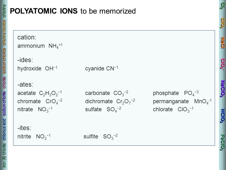 Cl 2 ClO 2 NaCl ClO 2 - NaClO 2 HClO 2 FeClO 2 iron (II) chlorite chlorous acid sodium chlorite chlorite sodium chloride chlorine dioxide chlorine cat