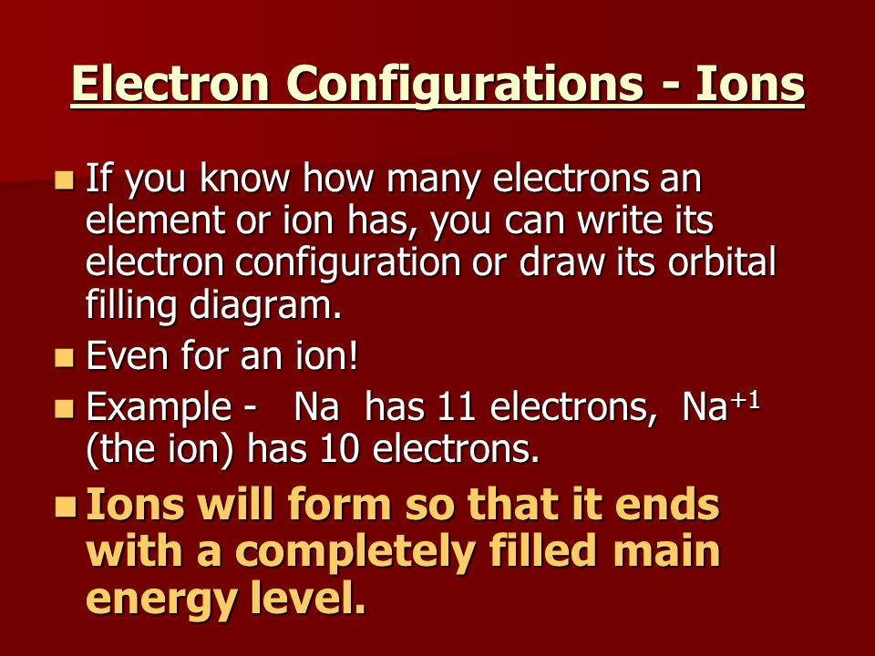 Electron Configurations - Ions If you know how many electrons an element or ion has, you can write its electron configuration or draw its orbital fill