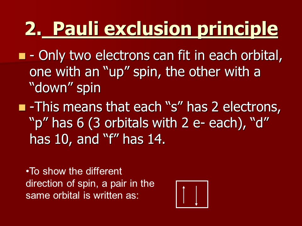 """2. Pauli exclusion principle - Only two electrons can fit in each orbital, one with an """"up"""" spin, the other with a """"down"""" spin - Only two electrons ca"""