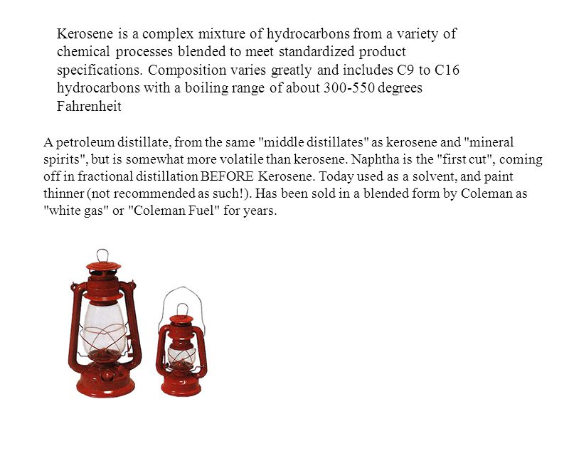 Kerosene is a complex mixture of hydrocarbons from a variety of chemical processes blended to meet standardized product specifications. Composition va
