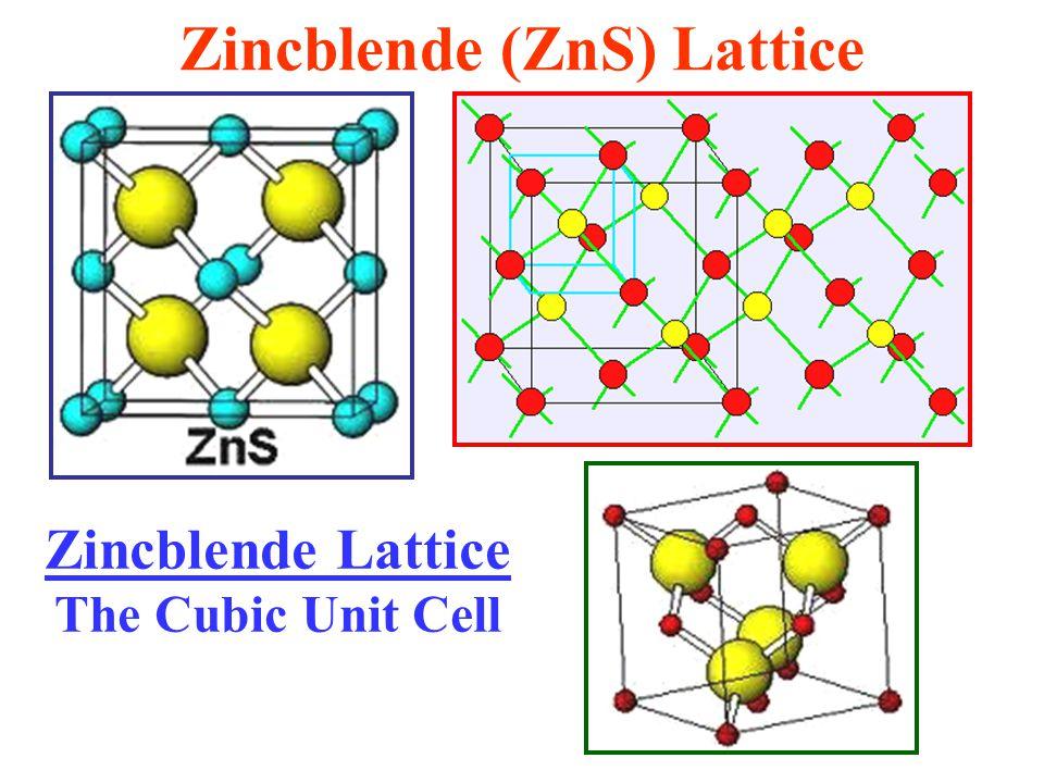 Zincblende (ZnS) Lattice Zincblende Lattice The Cubic Unit Cell