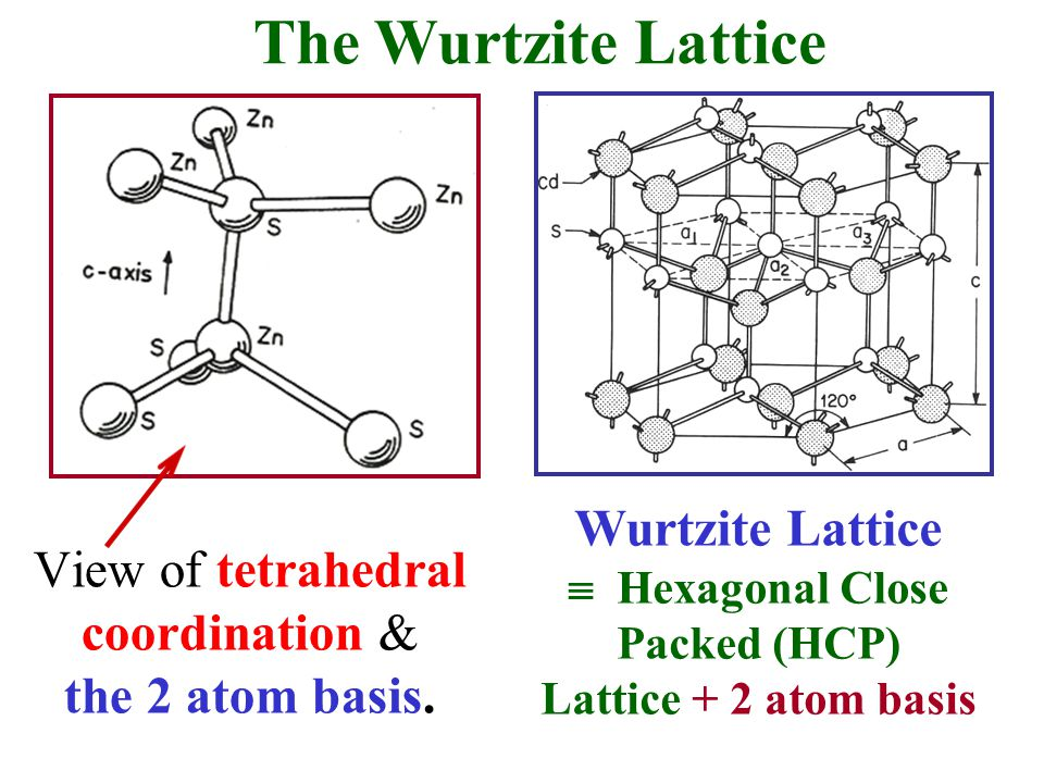 The Wurtzite Lattice Wurtzite Lattice  Hexagonal Close Packed (HCP) Lattice + 2 atom basis View of tetrahedral coordination & the 2 atom basis.