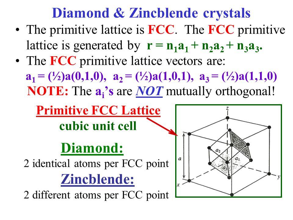 Diamond & Zincblende crystals The primitive lattice is FCC.