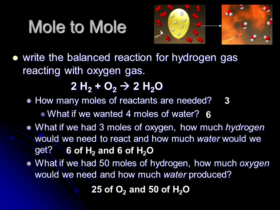 Interpreting balanced, chemical equations a reaction tells us how much reactant(s) you need to get new product(s) a reaction tells us how much reactant(s) you need to get new product(s) mass and atoms are always conserved mass and atoms are always conserved molecules, number of compounds, moles, and volumes may or may not be conserved molecules, number of compounds, moles, and volumes may or may not be conserved must be balanced must be balanced example: 2 Na + Cl 2  2 NaCl example: 2 Na + Cl 2  2 NaCl by mixing 2 moles of sodium with 1 mole of chlorine, we will get 2 moles of sodium chloride by mixing 2 moles of sodium with 1 mole of chlorine, we will get 2 moles of sodium chloride what if we wanted 4 moles of NaCl.