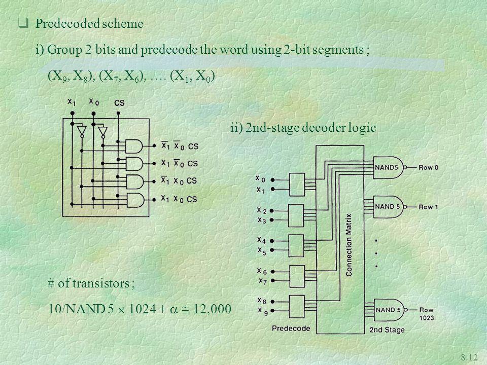 8.12 qPredecoded scheme i) Group 2 bits and predecode the word using 2-bit segments ; (X 9, X 8 ), (X 7, X 6 ), ….