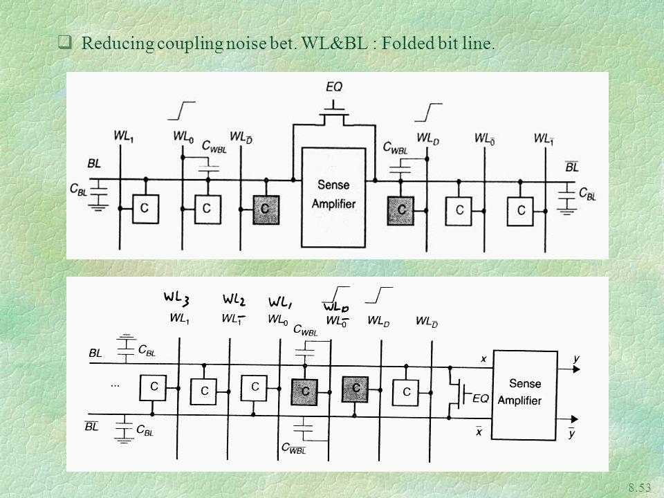 8.53 qReducing coupling noise bet. WL&BL : Folded bit line.