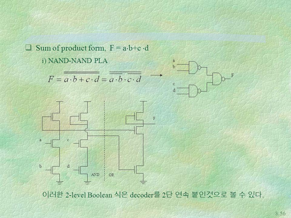 8.56 qSum of product form, F = a  b+c  d i) NAND-NAND PLA 이러한 2-level Boolean 식은 decoder 를 2 단 연속 붙인것으로 볼 수 있다.