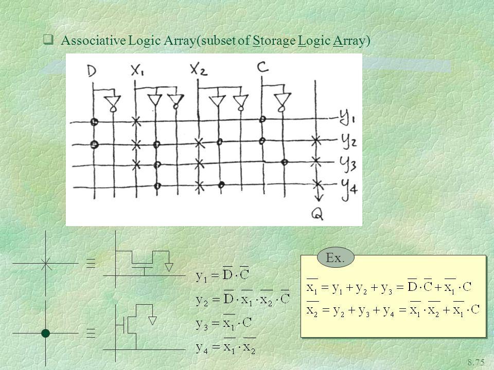 8.75 qAssociative Logic Array(subset of Storage Logic Array) Ex.