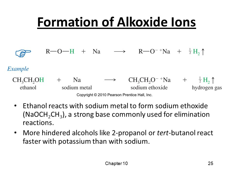 Chapter 1025 Formation of Alkoxide Ions Ethanol reacts with sodium metal to form sodium ethoxide (NaOCH 2 CH 3 ), a strong base commonly used for elim