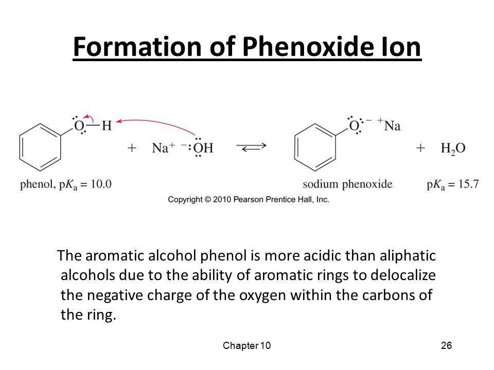 Chapter 1026 Formation of Phenoxide Ion The aromatic alcohol phenol is more acidic than aliphatic alcohols due to the ability of aromatic rings to del