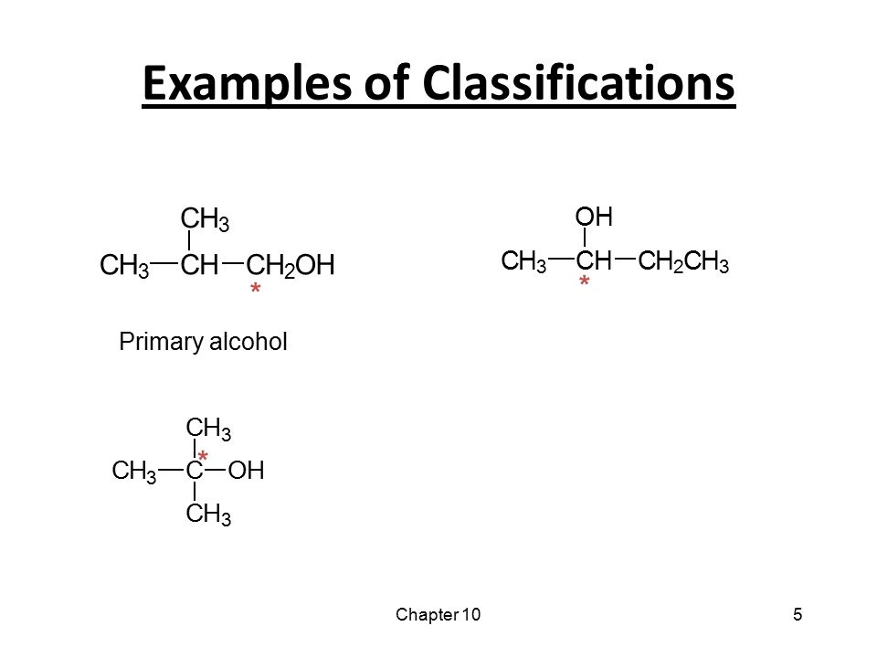 Chapter 105 Examples of Classifications CH 3 C CH 3 CH 3 OH * CH 3 CH OH CH 2 CH 3 * CH 3 CH CH 3 CH 2 OH * Primary alcohol