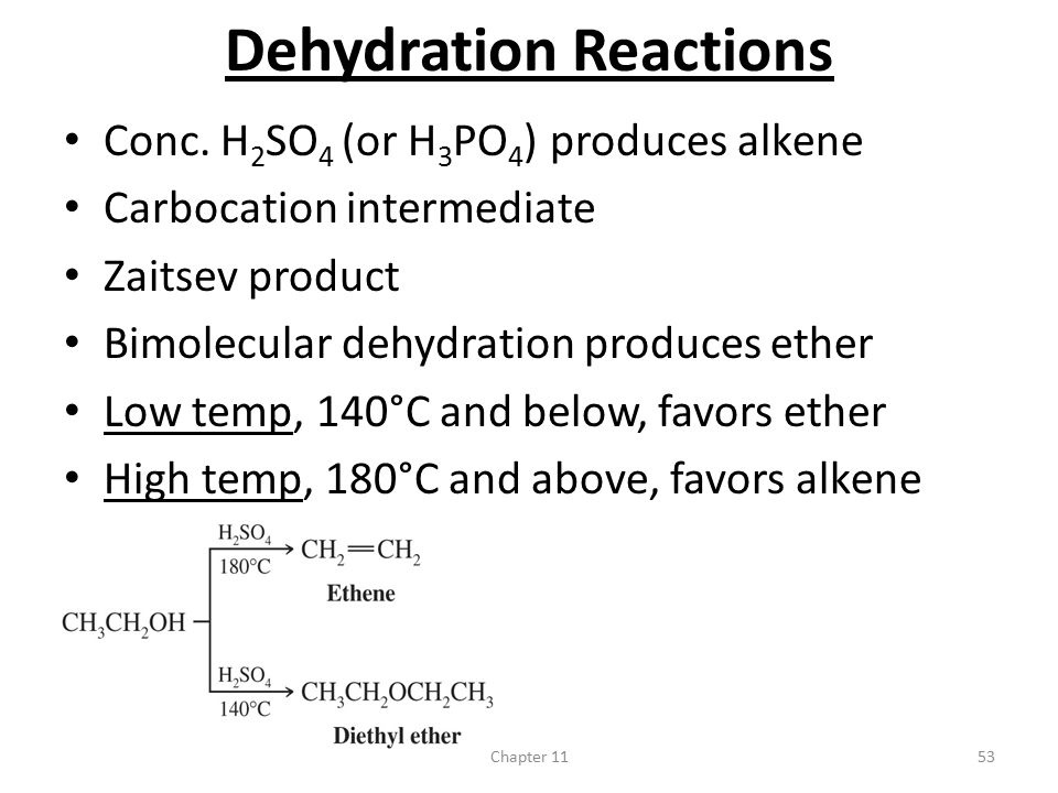 Chapter 1153 Dehydration Reactions Conc. H 2 SO 4 (or H 3 PO 4 ) produces alkene Carbocation intermediate Zaitsev product Bimolecular dehydration prod