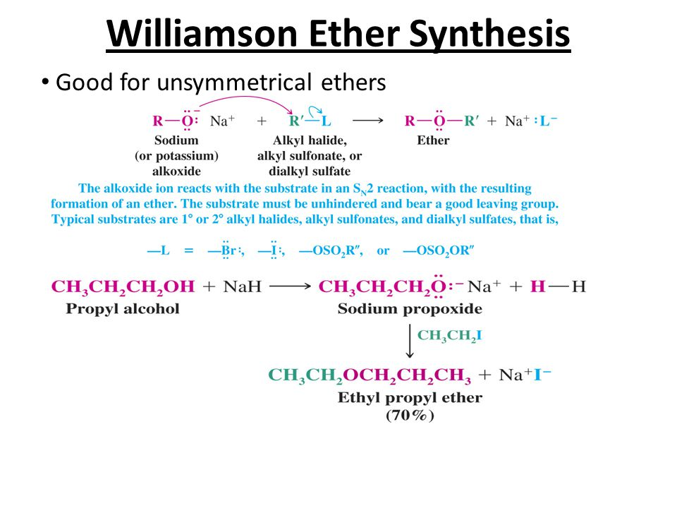 Williamson Ether Synthesis Good for unsymmetrical ethers