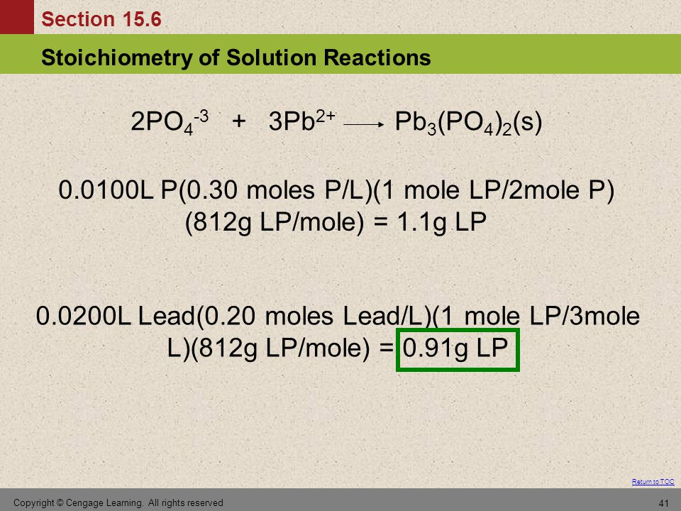 Section 15.6 Stoichiometry of Solution Reactions Return to TOC Copyright © Cengage Learning.