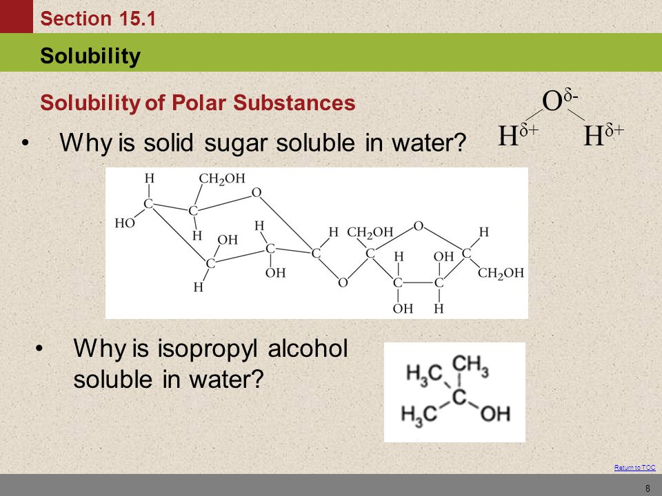 Section 15.1 Solubility Return to TOC 8 Why is solid sugar soluble in water.