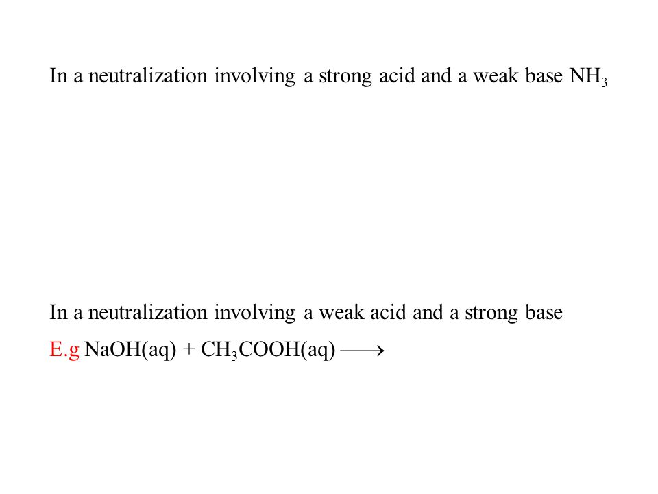 In a neutralization involving a strong acid and a weak base NH 3 In a neutralization involving a weak acid and a strong base E.g NaOH(aq) + CH 3 COOH(