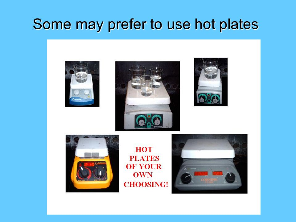 Some may prefer to use hot plates