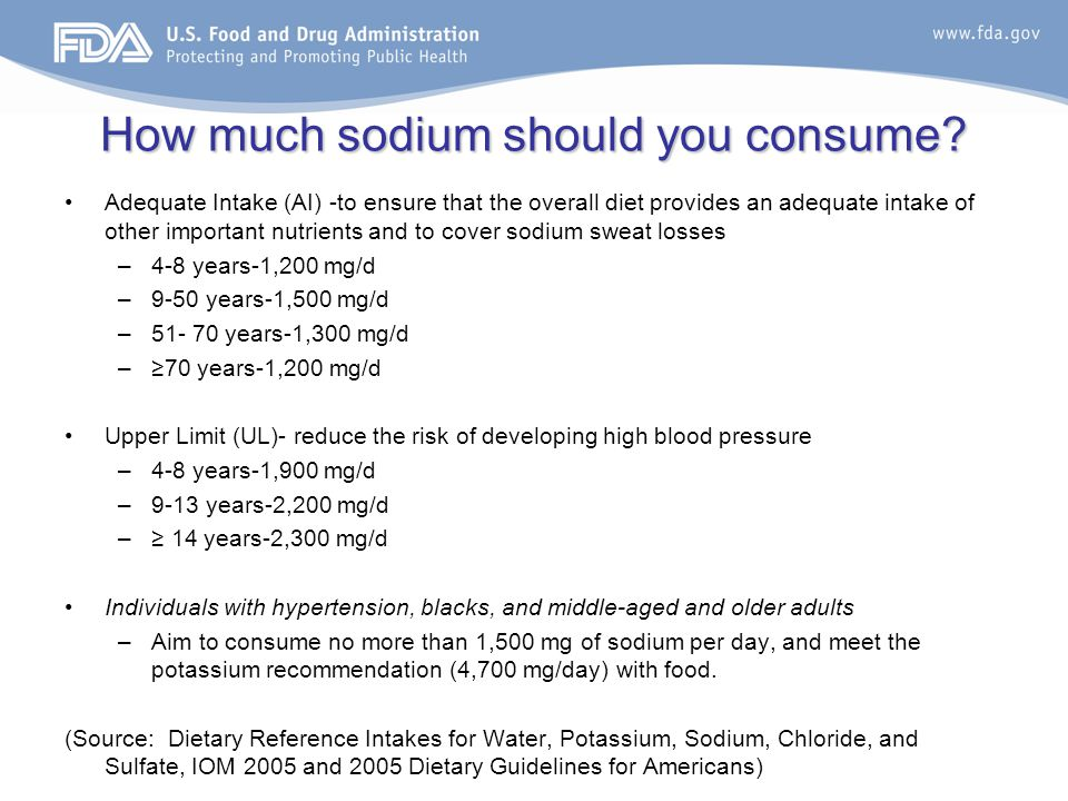 Sodium intake What is the mean intake of sodium in the U.S? 1,500 mg 3,400 mg 2,300 mg 800 mg