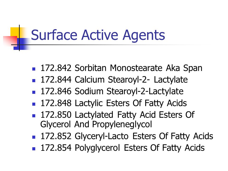 Surface Active Agents 172.856 Propylene Glycol Mono- And Diesters Of Fats And Fatty Acids 172.858 Propylene Glycol Alginate 172.859 Sucrose Fatty Acid Esters 172.860 Fatty Acids