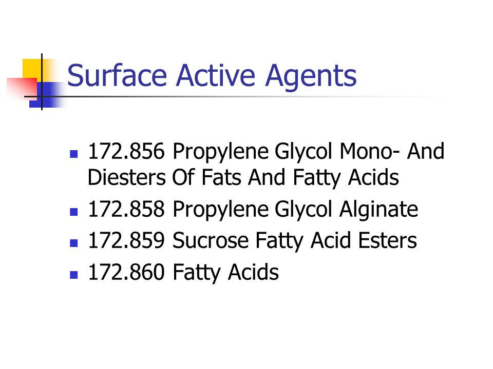 Surface Active Agents 172.856 Propylene Glycol Mono- And Diesters Of Fats And Fatty Acids 172.858 Propylene Glycol Alginate 172.859 Sucrose Fatty Acid
