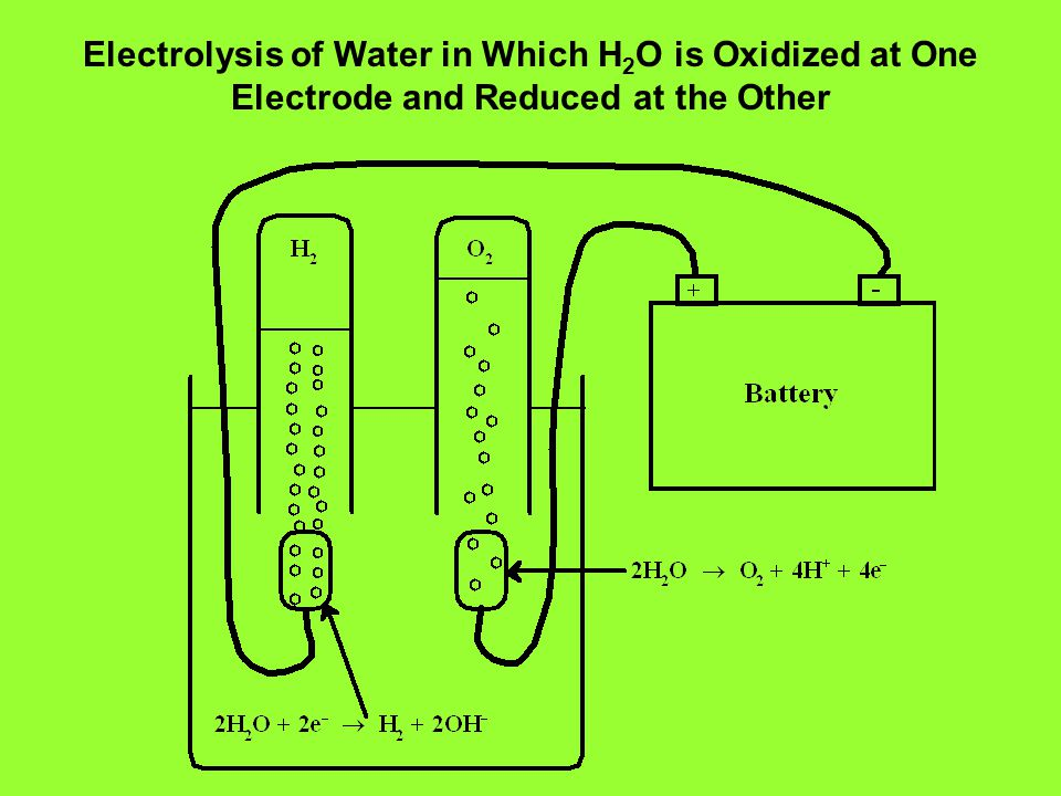Electrolysis of Water in Which H 2 O is Oxidized at One Electrode and Reduced at the Other
