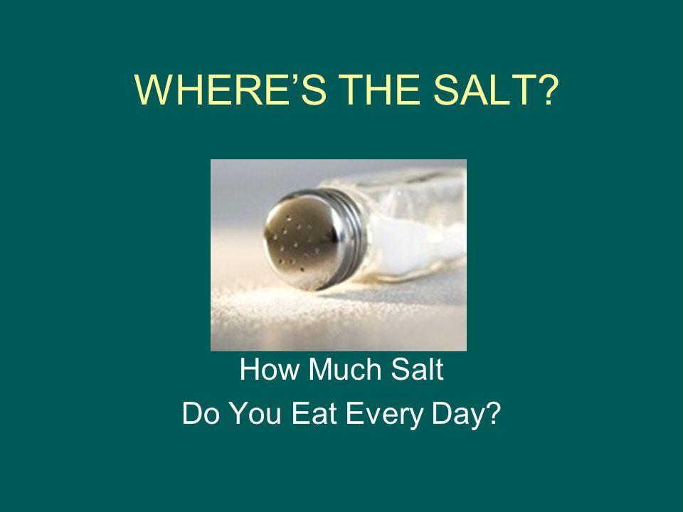 WHERE'S THE SALT How Much Salt Do You Eat Every Day