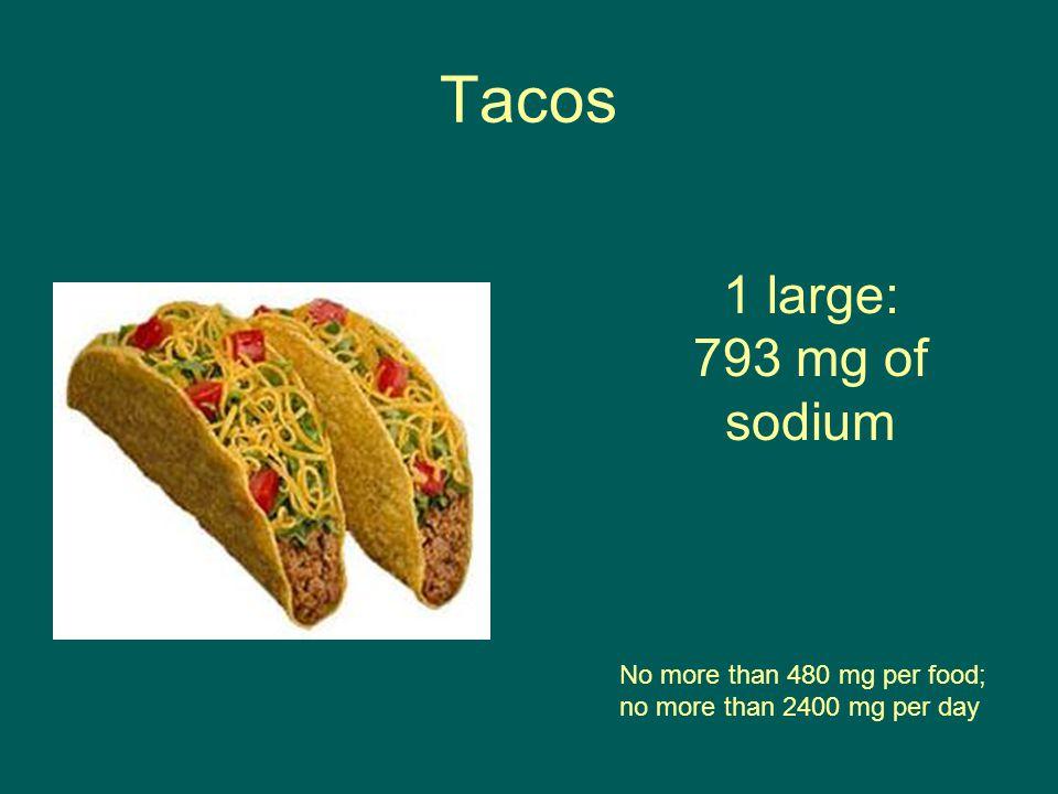 Tacos No more than 480 mg per food; no more than 2400 mg per day 1 large: 793 mg of sodium