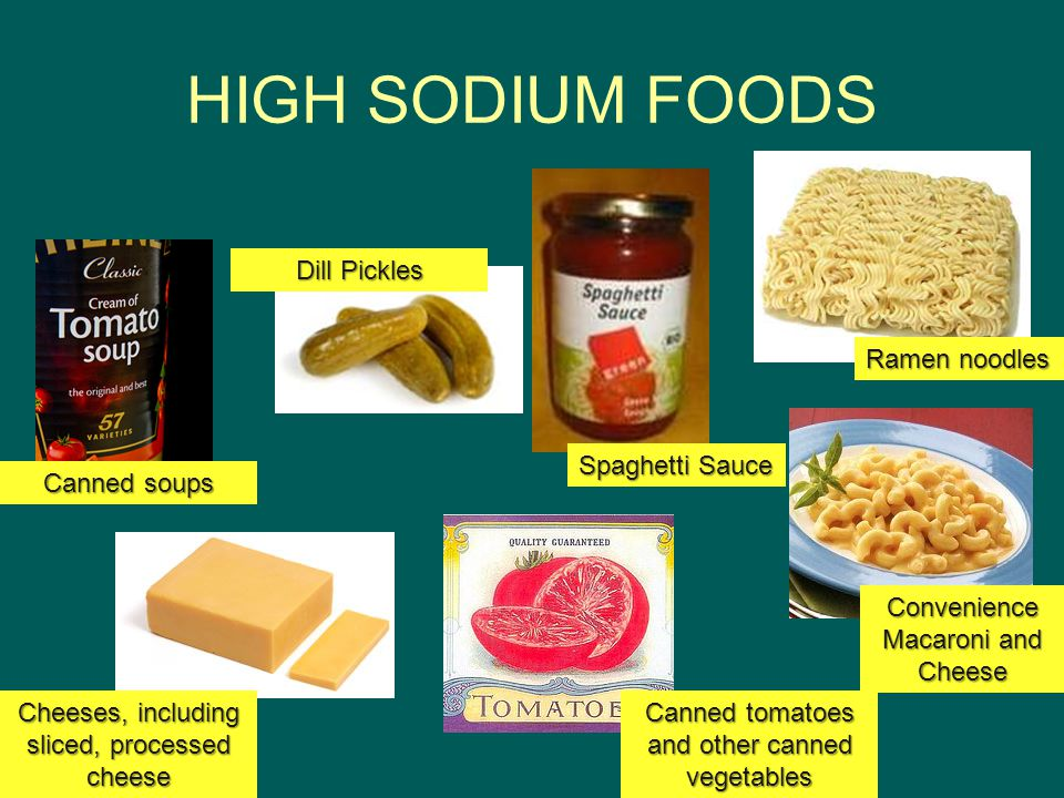 HIGH SODIUM FOODS Ramen noodles Convenience Macaroni and Cheese Spaghetti Sauce Canned tomatoes and other canned vegetables Dill Pickles Canned soups Cheeses, including sliced, processed cheese