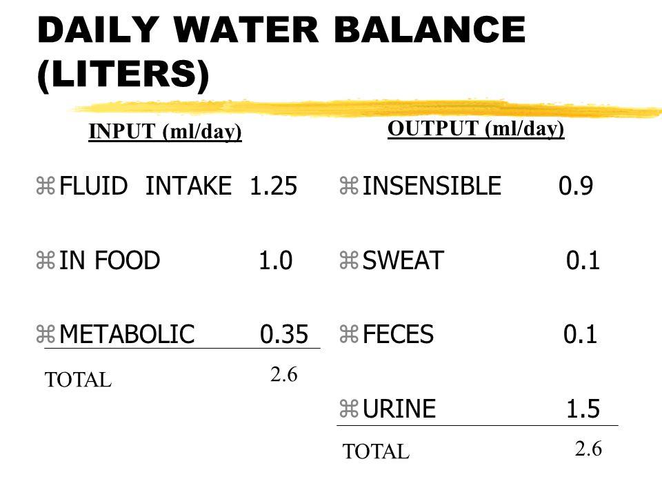 DAILY WATER BALANCE (LITERS) zFLUID INTAKE 1.25 zIN FOOD 1.0 zMETABOLIC 0.35 z INSENSIBLE 0.9 z SWEAT 0.1 z FECES 0.1 z URINE 1.5 TOTAL 2.6 INPUT (ml/day) OUTPUT (ml/day) TOTAL 2.6