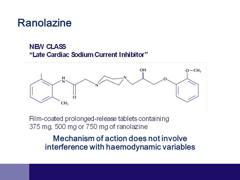 Mechanism of action does not involve interference with haemodynamic variables Ranolazine