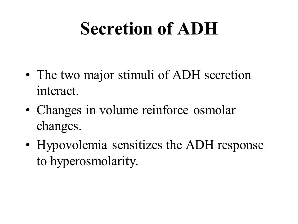 The two major stimuli of ADH secretion interact. Changes in volume reinforce osmolar changes.