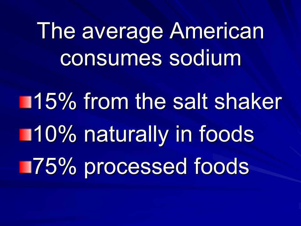 The average American consumes sodium 15% from the salt shaker 10% naturally in foods 75% processed foods