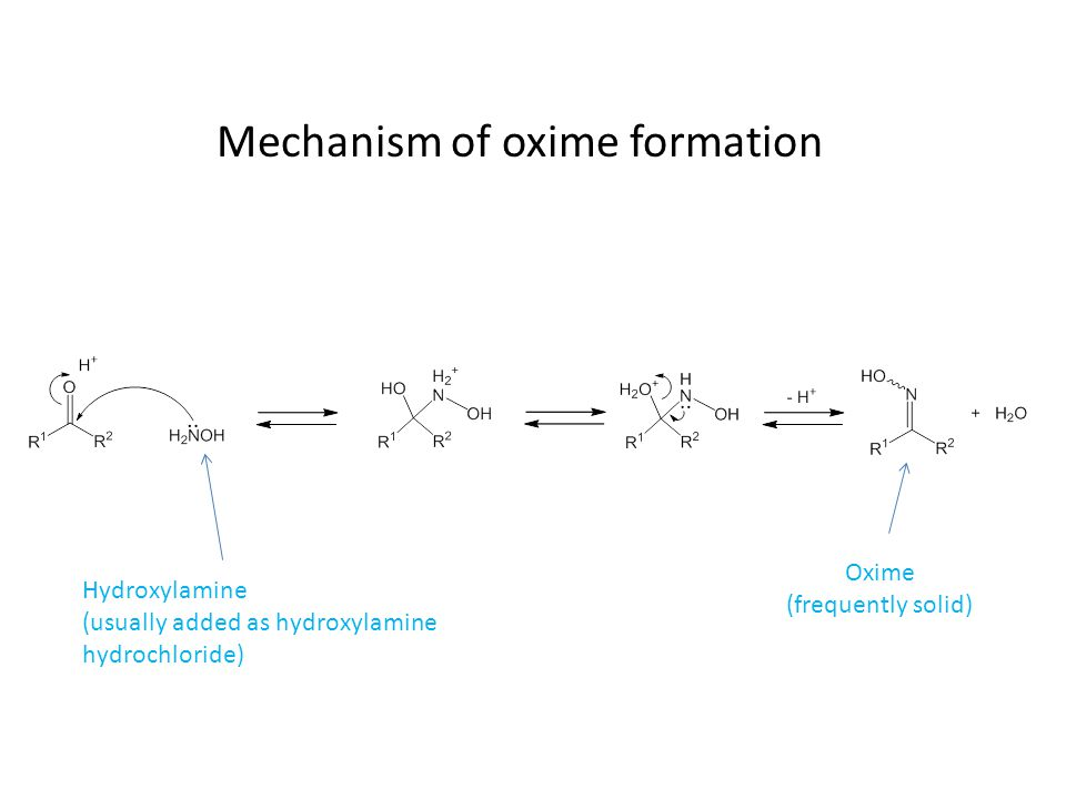 Mechanism of oxime formation Hydroxylamine (usually added as hydroxylamine hydrochloride) Oxime (frequently solid)