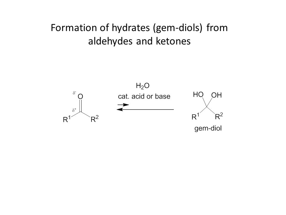 Formation of hydrates (gem-diols) from aldehydes and ketones