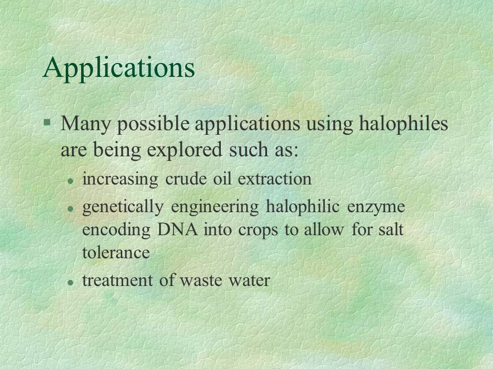 Applications §Current applications using halophiles include: l the extraction of carotene from carotene rich halobacteria and halophilic algae that ca