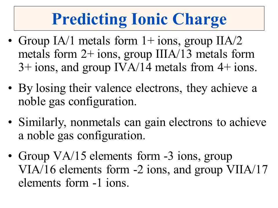 Predicting Ionic Charge Group IA/1 metals form 1+ ions, group IIA/2 metals form 2+ ions, group IIIA/13 metals form 3+ ions, and group IVA/14 metals from 4+ ions.