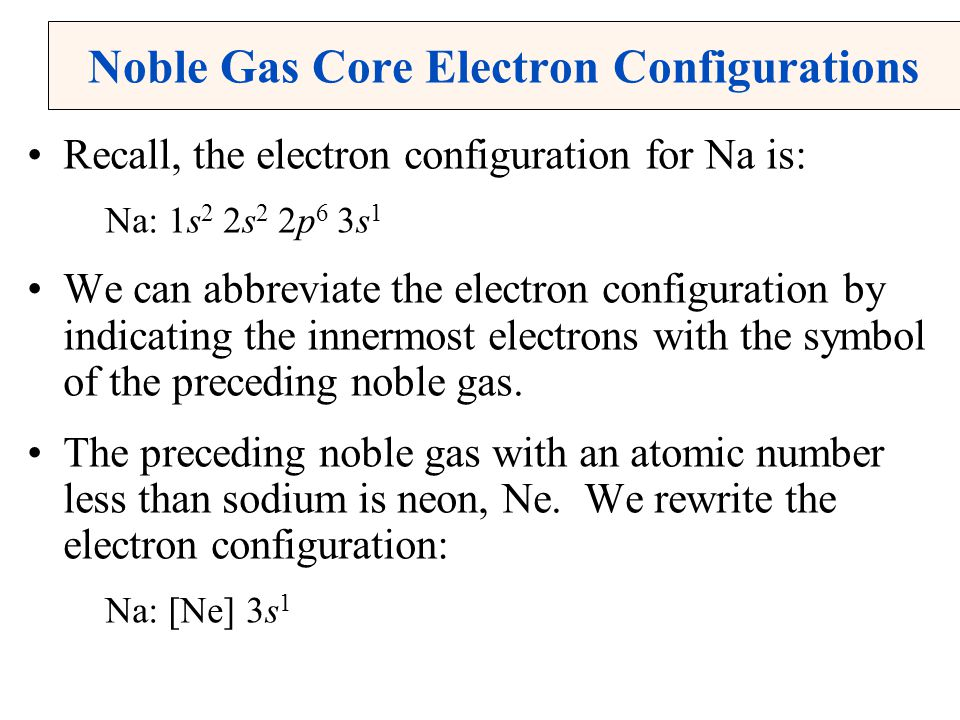 Noble Gas Core Electron Configurations Recall, the electron configuration for Na is: Na: 1s 2 2s 2 2p 6 3s 1 We can abbreviate the electron configuration by indicating the innermost electrons with the symbol of the preceding noble gas.