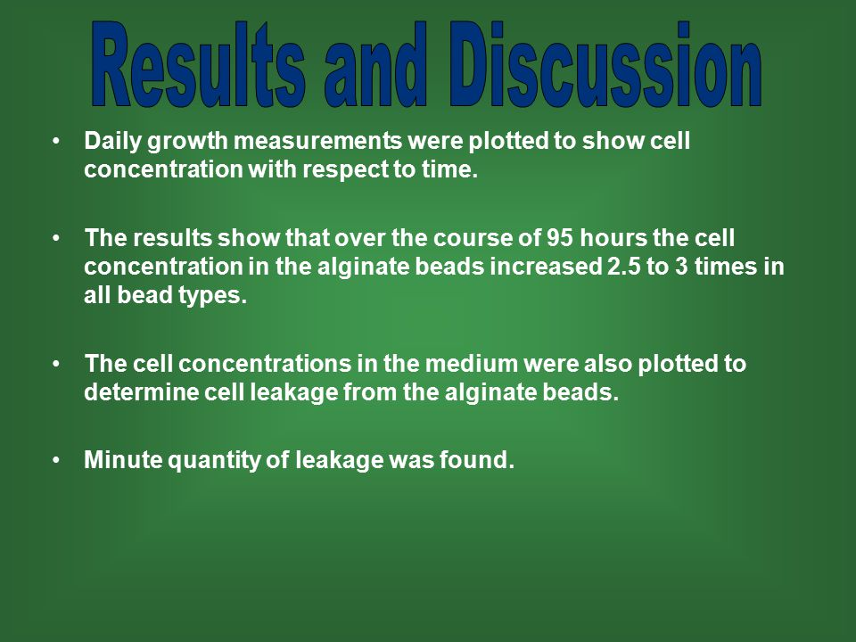 Daily growth measurements were plotted to show cell concentration with respect to time.