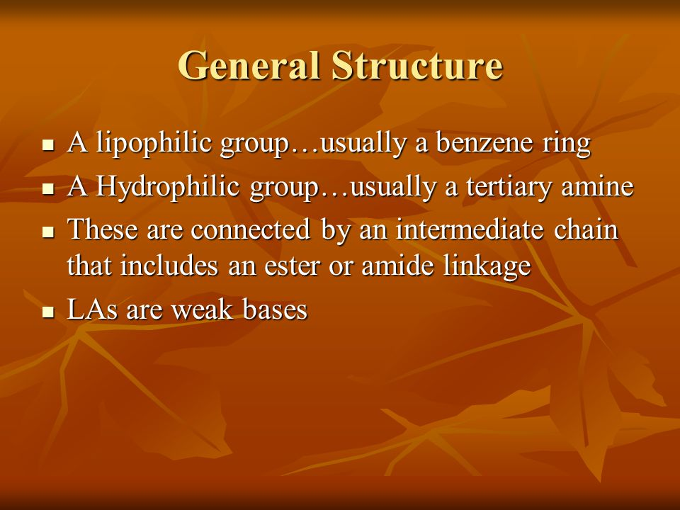 General Structure A lipophilic group…usually a benzene ring A lipophilic group…usually a benzene ring A Hydrophilic group…usually a tertiary amine A H