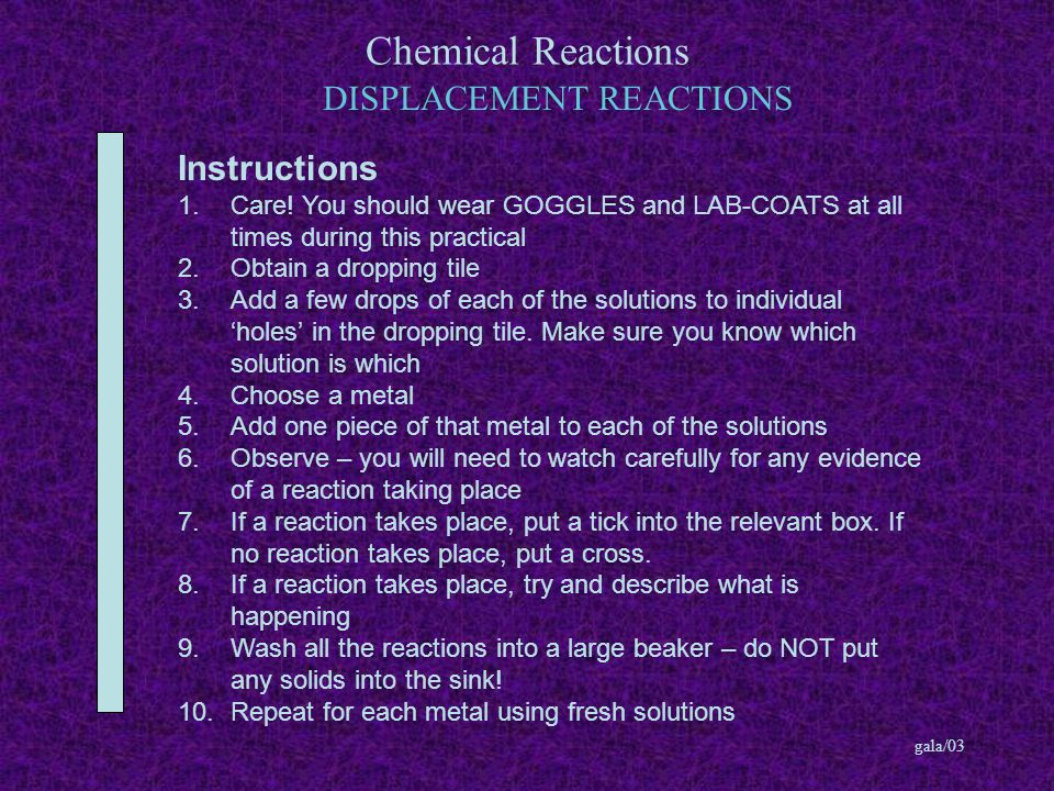Chemical Reactions gala/03 DISPLACEMENT REACTIONS Instructions 1.Care.
