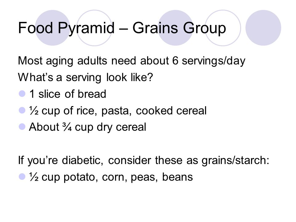 Food Pyramid – Grains Group Most aging adults need about 6 servings/day What's a serving look like? 1 slice of bread ½ cup of rice, pasta, cooked cere
