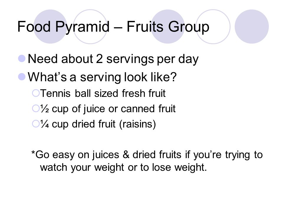 Food Pyramid – Vegetable Group Need about 3 servings per day What's a serving look like.