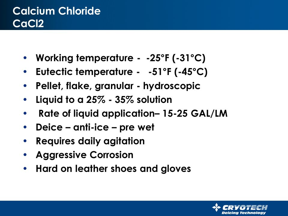 Acetate Deicers Summary of Options Direct application With chloride deicers With sand Liquid deicer Liquid anti-icer Liquid pre wetter