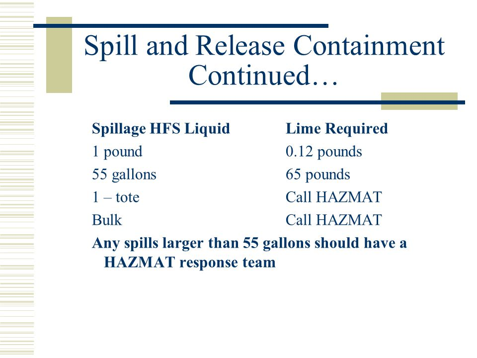 Spill and Release Containment Continued… Spillage HFS LiquidLime Required 1 pound0.12 pounds 55 gallons65 pounds 1 – toteCall HAZMAT BulkCall HAZMAT Any spills larger than 55 gallons should have a HAZMAT response team