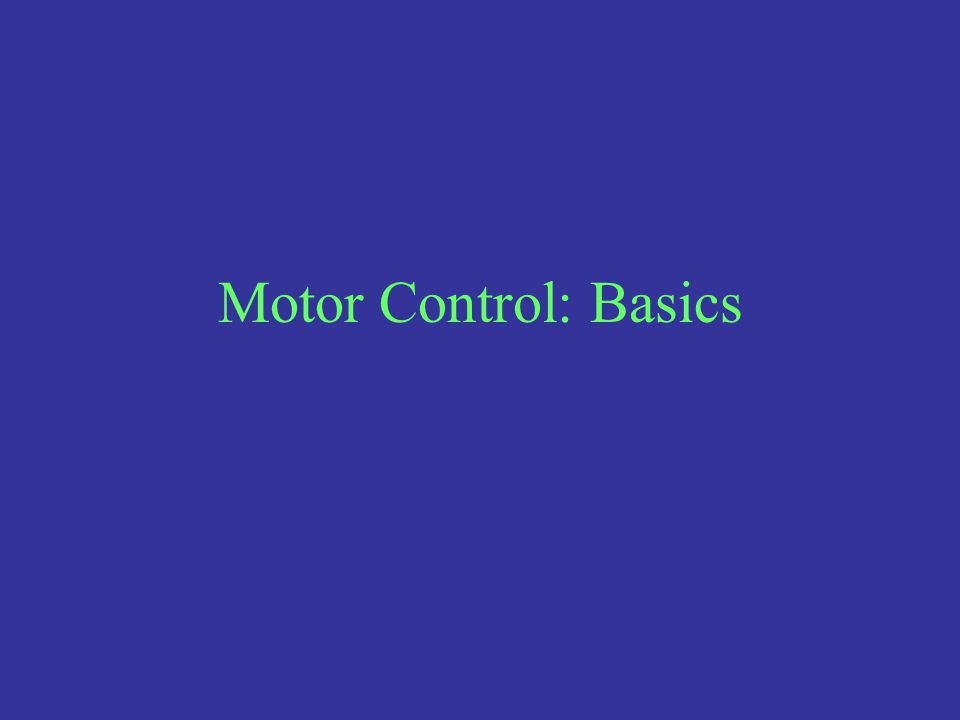 Motor Control: Basics
