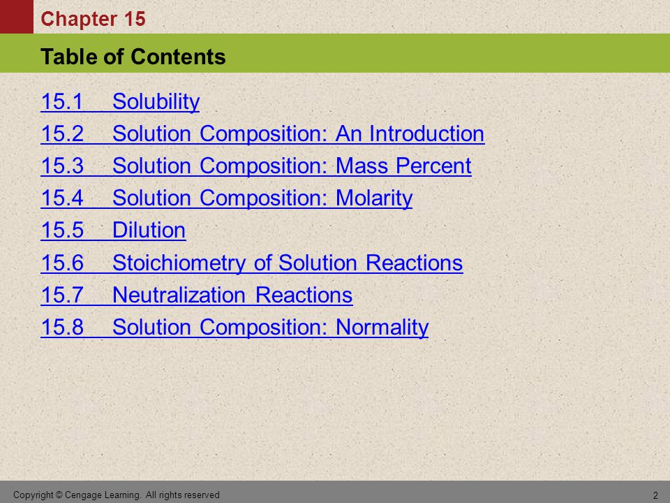 Section 15.8 Solution Composition: Normality Return to TOC Copyright © Cengage Learning.